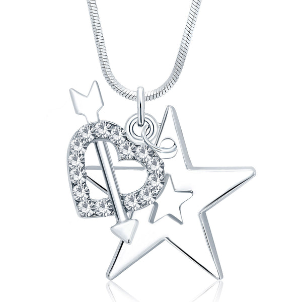 Sukkhi Delightful Star Rhodium Plated Austrian Crystal Valentine Heart Pendant With Chain