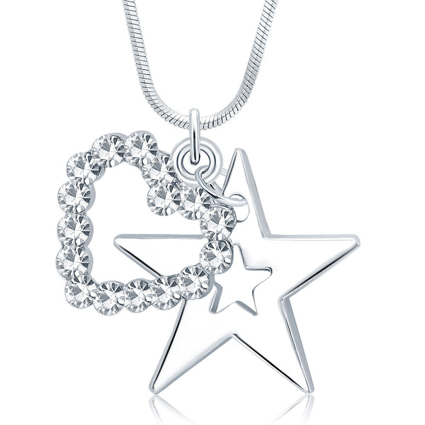 Sukkhi Artistically Star Rhodium Plated Austrian Crystal Valentine Heart Pendant With Chain