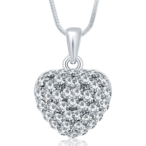 Sukkhi Sublime Rhodium Plated Austrian Crystal Valentine Heart Pendant With Chain