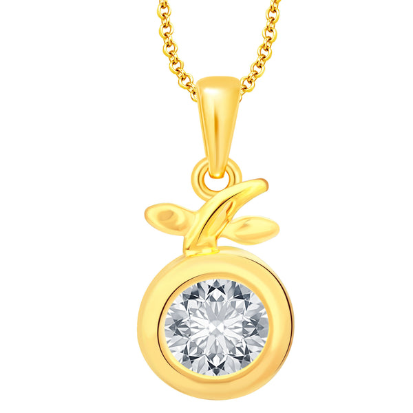 Pissara Brilliant Solitaire Gold Plated CZ Pendant For Women