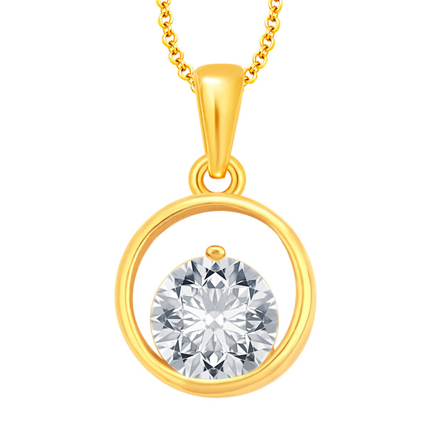 Pissara Sparkling Solitaire Gold Plated CZ Pendant For Women