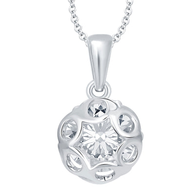 Pissara Magnificent Heart Rhodium Plated CZ Set of 5 Pendant Combo For Women-1
