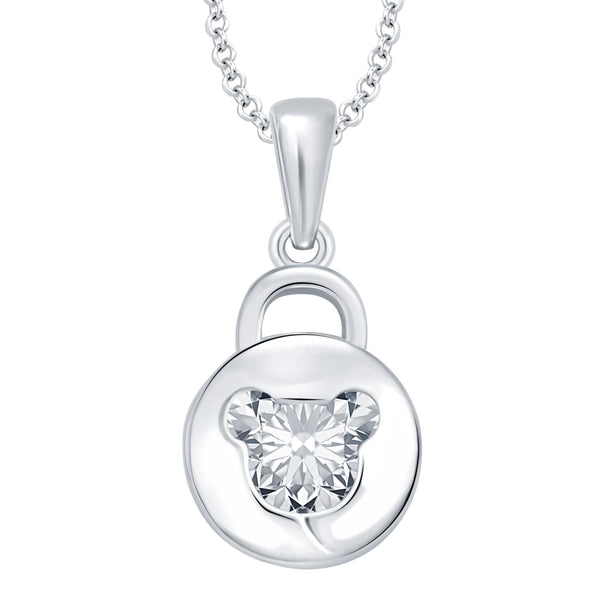 Pissara Gorgeous Solitaire Rhodium Plated CZ Pendant For Women