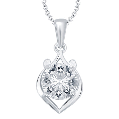 Pissara Magnificent Heart Rhodium Plated CZ Set of 5 Pendant Combo For Women-3