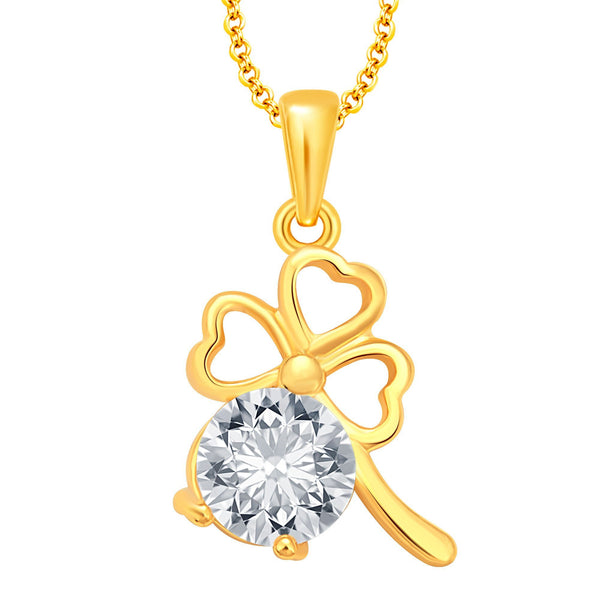 Pissara Excellent Solitaire Three Heart Gold Plated CZ Pendant For Women