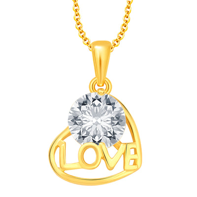 Pissara Trendy Heart Gold Plated CZ Set of 5 Pendant Combo For Women-5