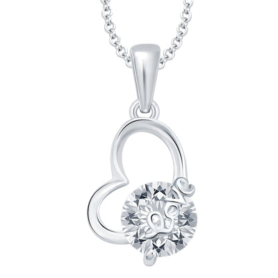 Pissara Magnificent Heart Rhodium Plated CZ Set of 5 Pendant Combo For Women-4