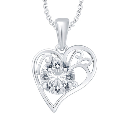Pissara Magnificent Heart Rhodium Plated CZ Set of 5 Pendant Combo For Women-5