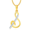 "Sukkhi Surveen Chawla Collections Letter ""S"" Gold and Rhodium Plated CZ Alphabet Pendant"