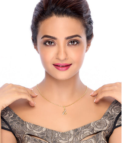 "Sukkhi Surveen Chawla Collections Letter ""S"" Gold and Rhodium Plated CZ Alphabet Pendant-1"
