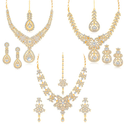 Sukkhi Felicitous Gold Plated Austrian Stone Necklace Set Combo For Women