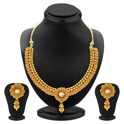 Sukkhi Jalebi Four String Gold Plated Necklace Set Combo For Women