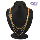 0864 Sukkhi Marvellous Gold Plated Three String AD Necklace Set