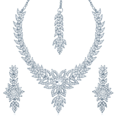 Sukkhi Bewitching Rhodium Plated Australian Diamond Stone Studded Necklace Set