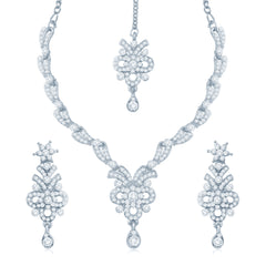 Sukkhi Glistening Rhodium Plated Australian Diamond Stone Studded Necklace Set