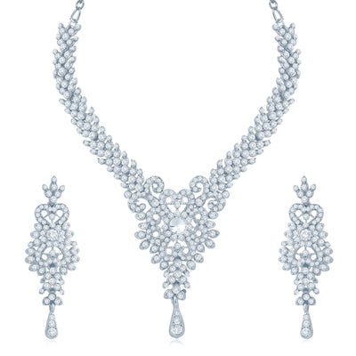 Sukkhi Alluring Rhodium Plated Australian Diamond Stone Studded Necklace Set