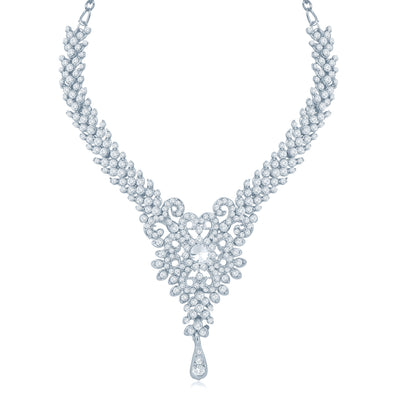 Sukkhi Alluring Rhodium Plated Australian Diamond Stone Studded Necklace Set-1