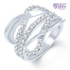 Pissara Sublime Rhodium plated CZ Studded Ring - 7