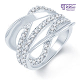 0260 Pissara Sublime Rhodium plated CZ Studded Ring