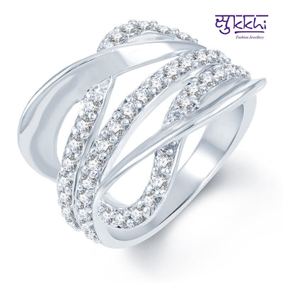 Sukkhi Surveen Chawla Collections Sublime Rhodium plated CZ Studded Ring