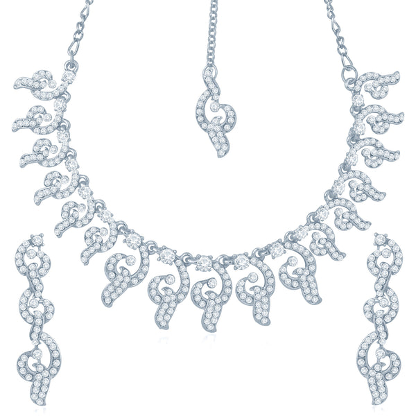 Sukkhi Youthful Rhodium Plated Australian Diamond Stone Studded Necklace Set