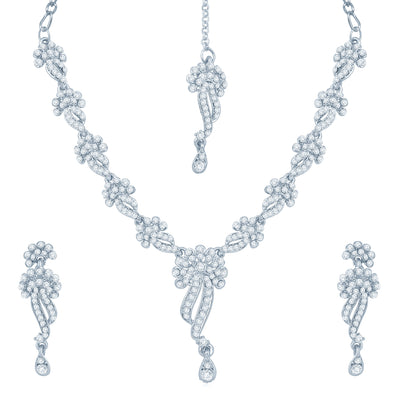 Sukkhi Appealing Rhodium Plated Australian Diamond Stone Studded Necklace Set