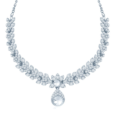Sukkhi Resplendent Rhodium Plated Australian Diamond Stone Studded Necklace Set-1