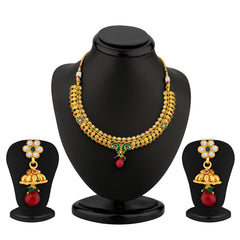 Sukkhi Peacock Gold Plated Meenakari Antique Necklace Set