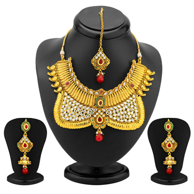 Sukkhi Ravishing Gold Plated AD Antique Choker Set