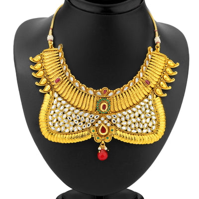 Sukkhi Ravishing Gold Plated AD Antique Choker Set-1