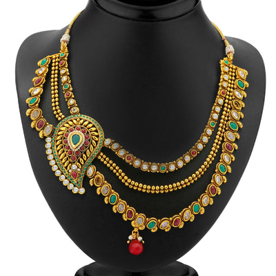 Sukkhi 3 Strings One Sided Mango Design Gold Plated Antique Necklace Set-1