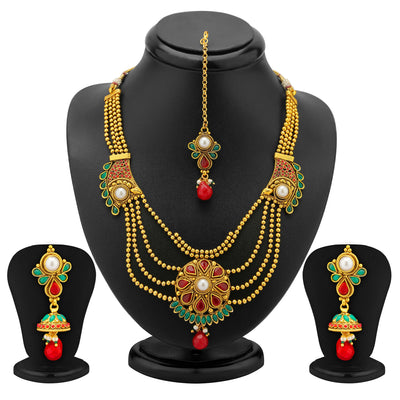 Sukkhi 4 Strings Gold Plated Ruby and Emerald Antique Necklace Set