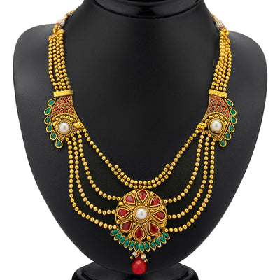 Sukkhi 4 Strings Gold Plated Ruby and Emerald Antique Necklace Set-1