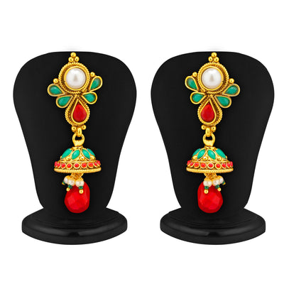 Sukkhi 4 Strings Gold Plated Ruby and Emerald Antique Necklace Set-2
