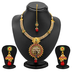 Sukkhi Glorius Gold Plated Peacock Antique Necklace Set