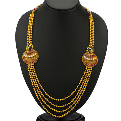 Sukkhi Beguiling 5 Strings Gold Plated Peacock Antique Necklace Set-1