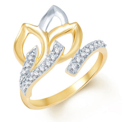 Sukkhi Gleaming Gold and Rhodium Plated CZ Ring