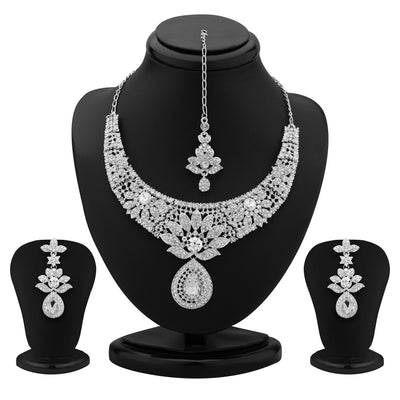 Sukkhi Modern Rhodium Plated Australian Diamond Necklace Set