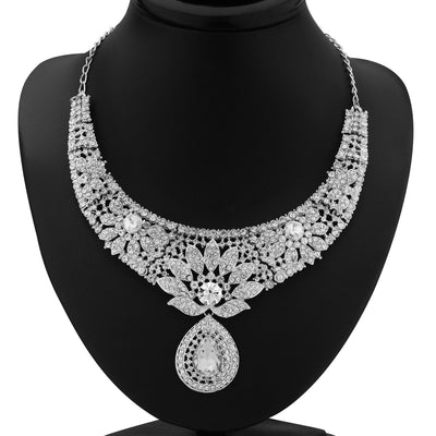 Sukkhi Modern Rhodium Plated Australian Diamond Necklace Set-1
