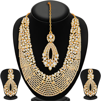 Sukkhi -  Kritika Kamra Dazzling Gold Plated Australian Diamond Wedding Necklace Set-1