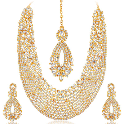 Sukkhi -  Kritika Kamra Dazzling Gold Plated Australian Diamond Wedding Necklace Set-2