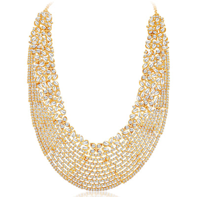Sukkhi -  Kritika Kamra Dazzling Gold Plated Australian Diamond Wedding Necklace Set-4
