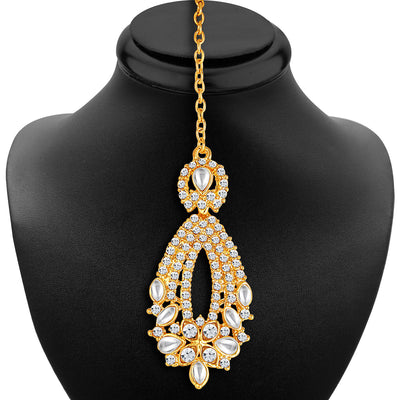 Sukkhi -  Kritika Kamra Dazzling Gold Plated Australian Diamond Wedding Necklace Set-7