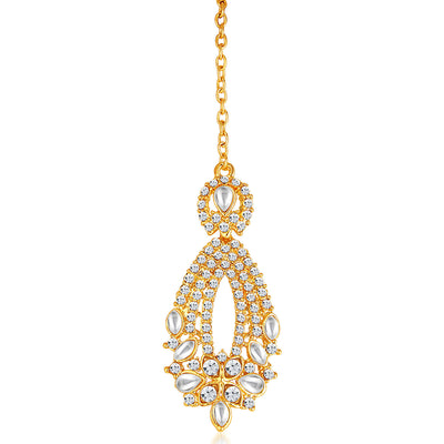 Sukkhi -  Kritika Kamra Dazzling Gold Plated Australian Diamond Wedding Necklace Set-8