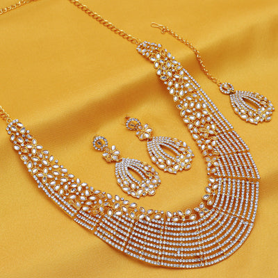 Sukkhi - Kritika Kamra Dazzling Gold Plated Australian Diamond Wedding Necklace Set