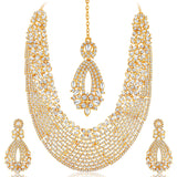 Sukkhi Dazzling Gold Plated Australian Diamond Necklace Set-1