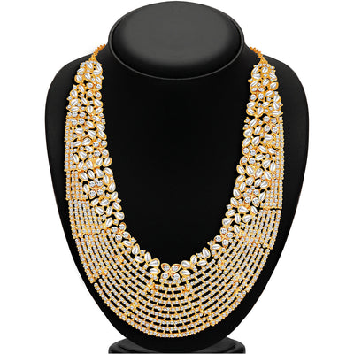 Sukkhi Dazzling Gold Plated Australian Diamond Necklace Set-2