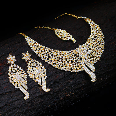 Sukkhi Sleek Gold plated AD Stone Necklace Set
