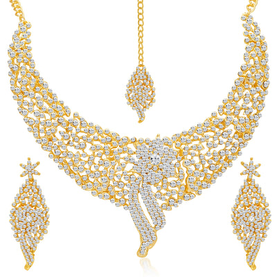 Sukkhi Sleek Gold plated AD Stone Necklace Set-4