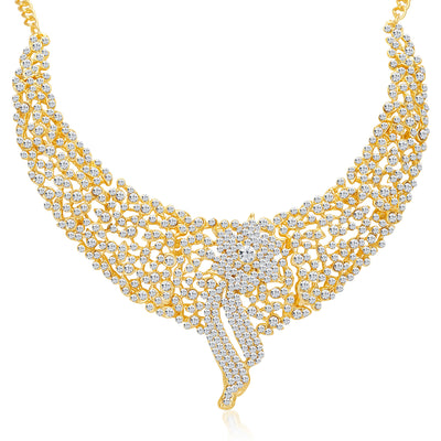 Sukkhi Sleek Gold plated AD Stone Necklace Set-5